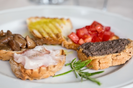 Bruschetta on five ways, five flavors photo