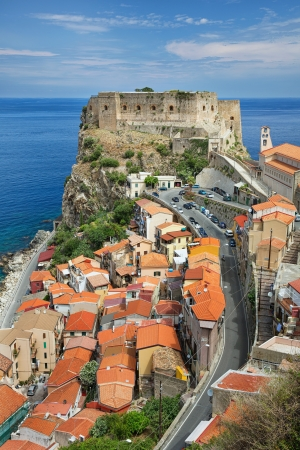calabria: Scilla, Calabria, Ruffo Castle and town  Stock Photo