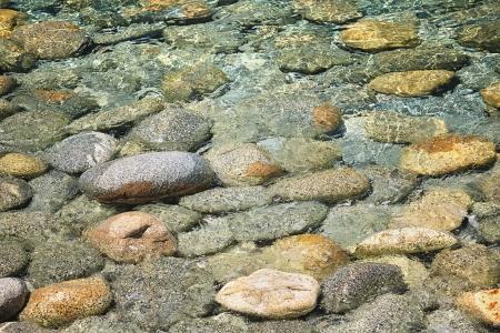 Sea floor with pebbles underwater
