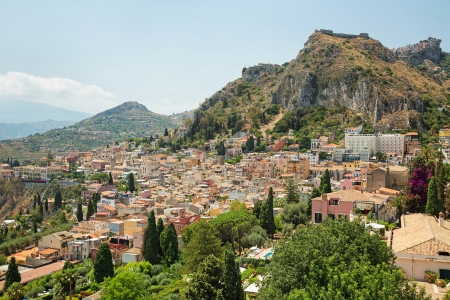 taormina: View of one of the most beautiful cities in Sicily - Taormina Stock Photo