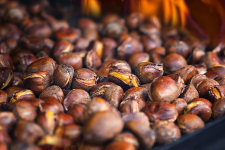 detailed view: Detailed view of roasted chestnuts Stock Photo