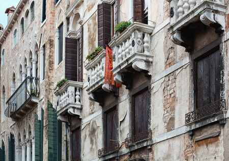 architecture and buildings: Detailed view of Venetian architecture buildings Stock Photo