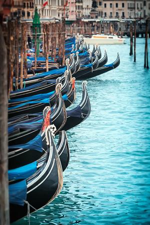 Beautiful gondolas in Venice, Italy photo