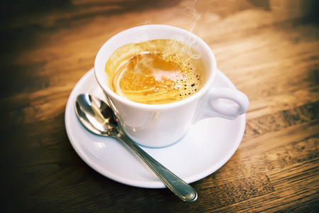 Great Italian coffee in a white cup  photo