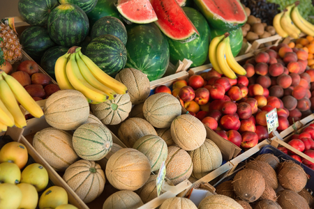 Fesh organic fruits and vegetables on market stall  photo