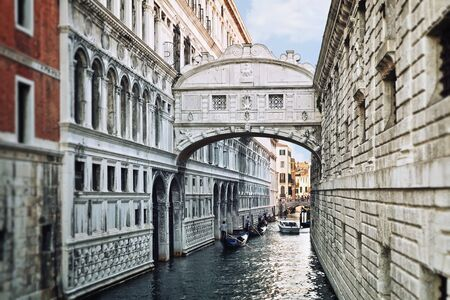 View of the famous Bridge of Sighs in Venice photo