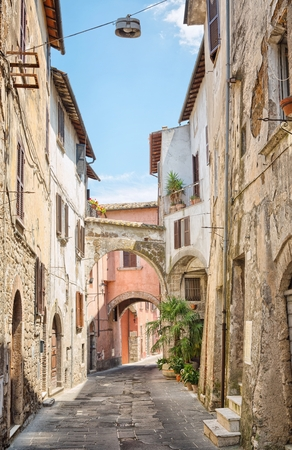 little town: View of a beautiful little street in the old town in Tuscany, Italy