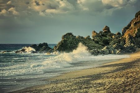 olas de mar: Hermoso paisaje marino. Composición de la naturaleza