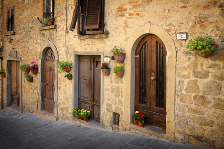 alley: The road leading to the main square - Piazza dei Priori, Volterra Tuscany Italy