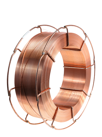 metal filament: Copper wire on a spool, isolated on white backgrounds. Stock Photo