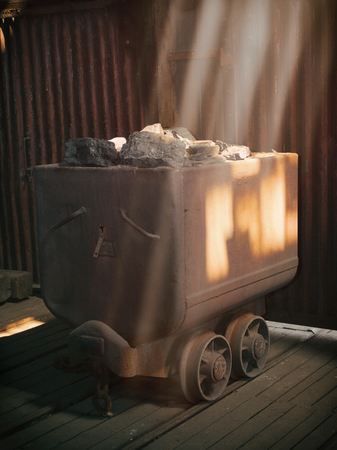 tunneling: old rusty truck with coal miners Stock Photo
