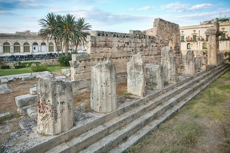 doric: Side view of the ruins of the ancient greek doric temple of Apollo in Siracusa