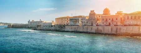 ortigia: Panoramic view of the ancient Ortigia Island, Syracuse, Sicily. Italy.
