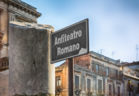 information point: Sign for the Roman Amphitheater in Catania, Sicily