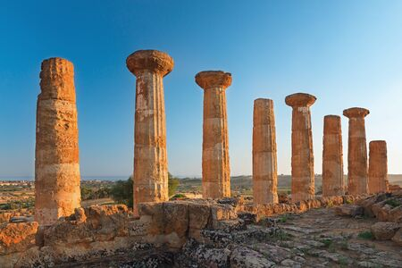 The temple of heracles in the Valley of the Temples, Agrigento, Sicily island, Italy. Stock Photo