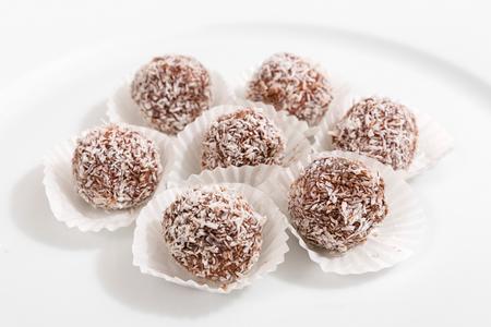 Truffles - classic no bake Chocolate coconut balls Stock Photo