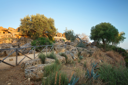 agrigento: View of the ruins in the Valley of the Temples in Agrigento, Sicily, Italy