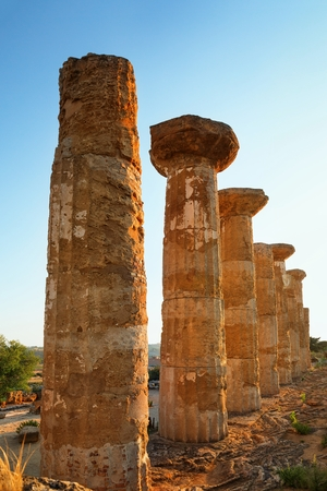 agrigento: The temple of heracles in the Valley of the Temples, Agrigento, Sicily island, Italy. Stock Photo
