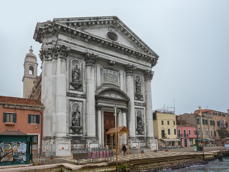 commonly: VENICE, ITALY - February 16, 2017 at Santa Maria del Rosario (Meaning St Mary of the Rosary), commonly known as I Gesuati on the Giudecca Canal