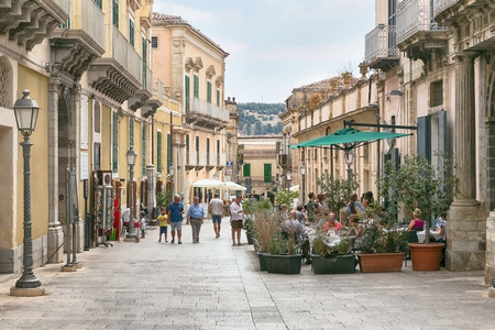 ragusa: Ragusa, Sicily, July 26, 2016 view of the square in the center of Ragusa, Sicily, Italy Editorial