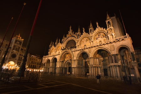 Cathedral of San Marco, Venice, Italy, illuminated at night Editorial