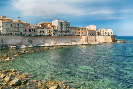 ortigia: Panoramic view of the ancient Ortigia island, Syracuse, Sicily. Italy. Stock Photo