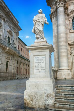 ortigia: Apostle statue in Cathedral in Syracuse, Sicily