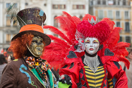 Venice, Italy - February 27, 2014: Unidentified person with Venetian Carnival mask in Venice, Italy on February 2014. In 2014 the Venetian Carnival was held Between February 15 and March 4 Editorial