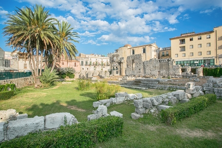 ortigia: Side view of the ruins of the ancient greek doric temple of Apollo in Siracusa