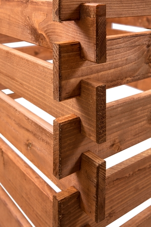 Close-up of the ends of pine boards with isolated against a white background Stock Photo