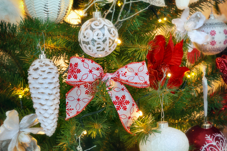 Christmas decorations on the branches fir Reklamní fotografie