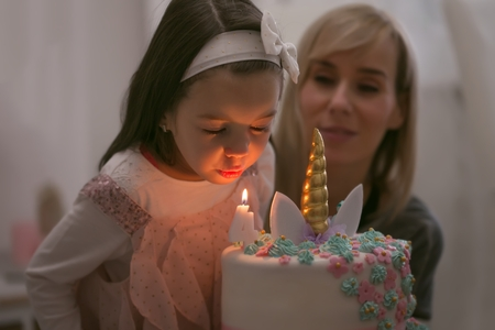 Adorable four year old girl celebrating his birthday and blowing candles on homemade baked cake Reklamní fotografie