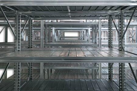 Empty warehouse racks, Empty metal shelf in storage room, storage concept