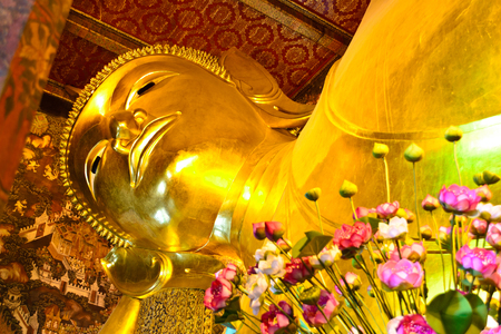 belive: Reclining  Buddha Chetupon Temple in Thailand Stock Photo
