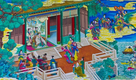 Chinese painting, drawing release the story in the palace.