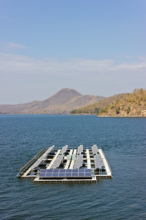 Solar cells are placed on the lake. photo