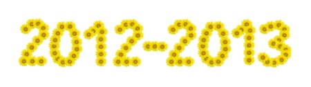 thirteen: Two thousand twelve to two thousand thirteen,sunflower isolated on white background