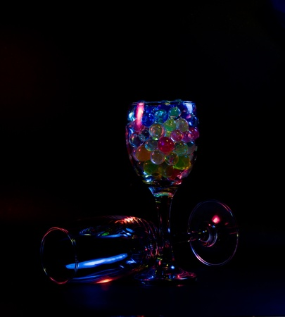 rainbow cocktail: Abstract wine glasses rainbow colored.