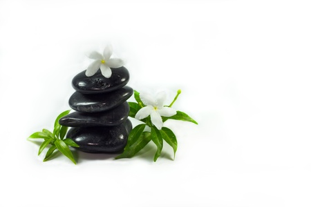 Spa stone on white background.