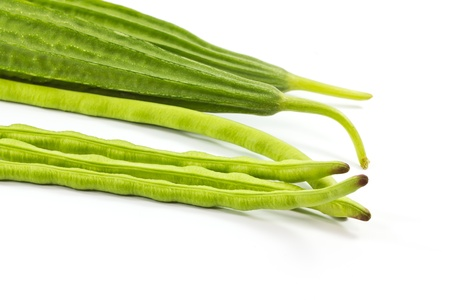 Yard long bean with zucchini organic vegetables Stock Photo - 16189162