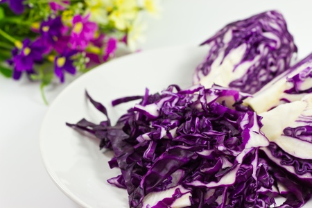 Sliced red cabbage for salads  photo