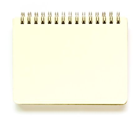 yellow notepad: Recycle notebook  on white background. Stock Photo