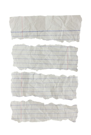 Folded paper notes isolated on white background  photo