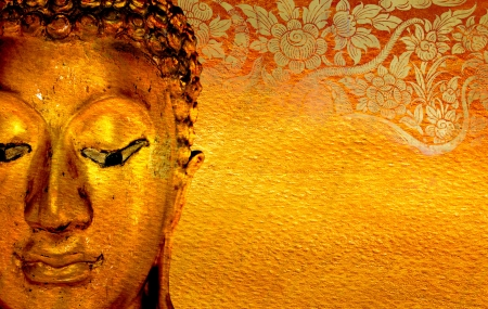 buddha face: Buddha gold statue on golden background patterns Thailand  Stock Photo