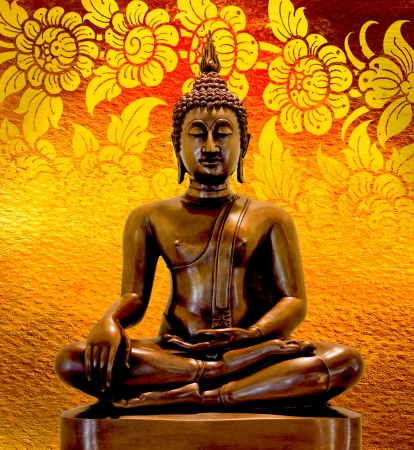 Buddha statue on a gold background.