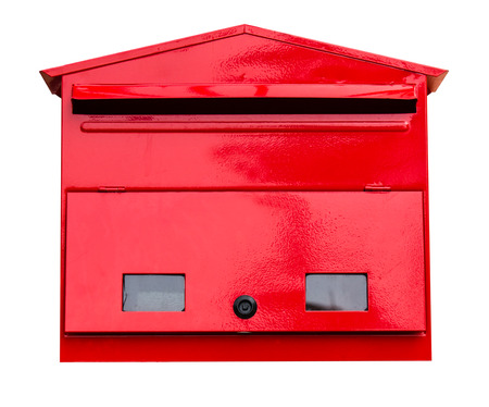 Red mailbox on white