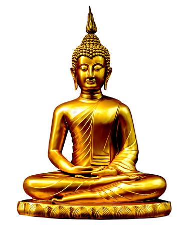 bouddha: Statue de Bouddha d'or sur fond blanc. Banque d'images