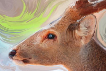 rut: Oil painting deer.