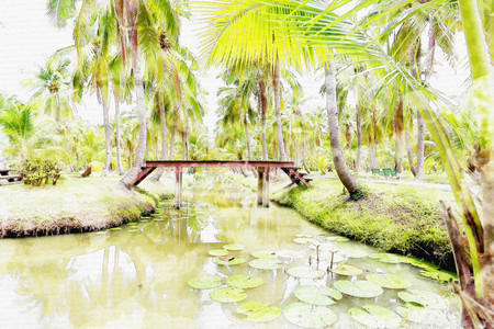 country landscape: Watercolor painting park.