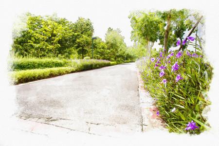 Parco pittura ad acquerello. Archivio Fotografico - 49024804